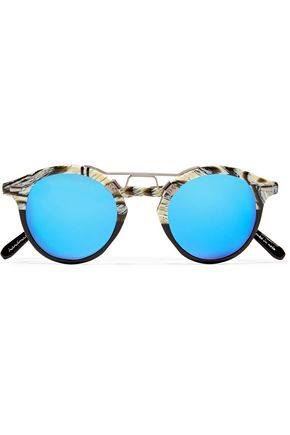 KREWE Round-fame printed acetate mirrored sunglasses
