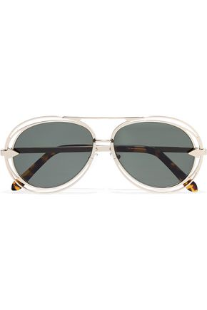 KAREN WALKER Aviator-style silver-tone sunglasses