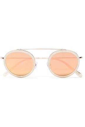 KREWE Round-frame acetate and rose gold-tone mirrored sunglasses