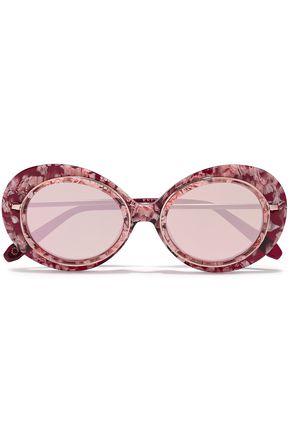 KREWE Round-frame printed acetate sunglasses