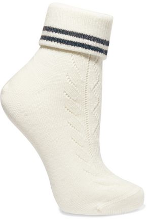 MIU MIU Pointelle-trimmed wool-blend socks