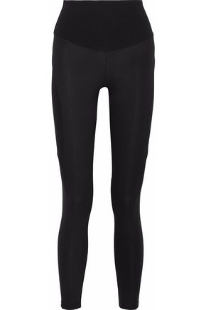 YUMMIE by HEATHER THOMSON Paneled coated stretch-cotton jersey leggings