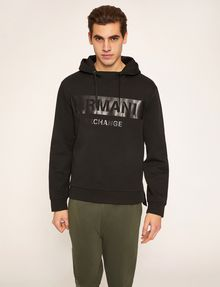 ARMANI EXCHANGE HIGH-SHINE STENCIL LOGO HOODIE Fleece Top Man f
