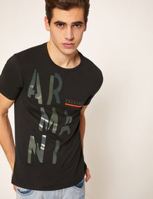 ARMANI EXCHANGE OLIVE DRAB SLIM LOGO TEE Logo T-shirt Man a