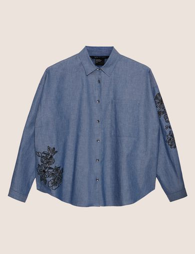FLORAL CUTOUT EMBROIDERY DENIM SHIRT