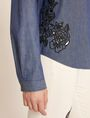 ARMANI EXCHANGE FLORAL CUTOUT EMBROIDERY DENIM SHIRT L/S Knit Top Woman b