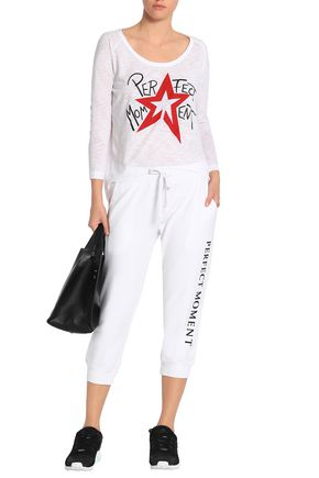 PERFECT MOMENT Cropped printed French cotton-terry track pants