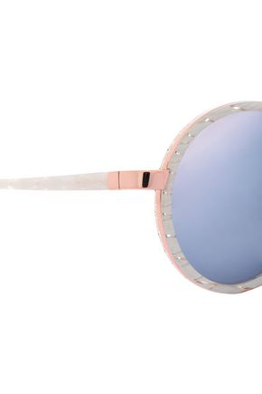 SUNDAY SOMEWHERE Round-frame printed acetate and rose gold-tone sunglasses