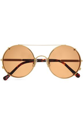 SUNDAY SOMEWHERE Round-frame tortoiseshell acetate and gold-tone sunglasses