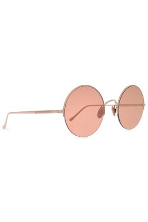 SUNDAY SOMEWHERE Round-frame gold-tone mirrored sunglasses