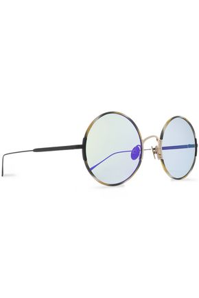 SUNDAY SOMEWHERE Round-frame printed acetate and gunmetal-gone mirrored sunglasses