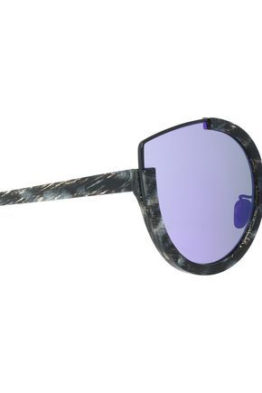 SUNDAY SOMEWHERE Round-frame printed acetate mirrored sunglasses