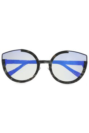 SUNDAY SOMEWHERE Round-frame printed acetate mirrored sunglasses
