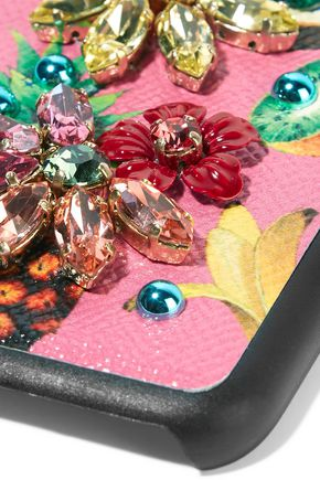 DOLCE & GABBANA Embellished printed textured-leather iPhone 7 case