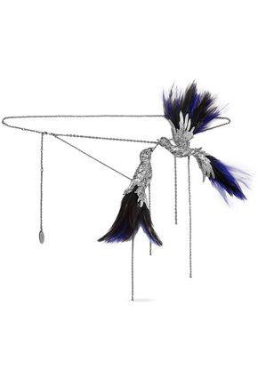 LANVIN حزام على شكل سلسلة باللون الفضّيّ مع الكريستال والريش