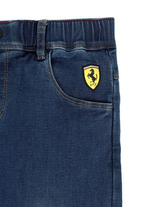 Scuderia Ferrari Online Store - Boys' trousers in denim-effect fleece - 5-pocket trousers