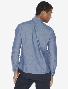ARMANI EXCHANGE REGULAR-FIT PIECED CHAMBRAY SHIRT Long-Sleeved Shirt Man e