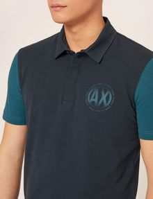 ARMANI EXCHANGE WORLD LOGO COLORBLOCK POLO SHORT SLEEVES POLO Man b
