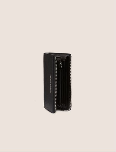 DENIM EFFECT HALF-ZIP LONG WALLET
