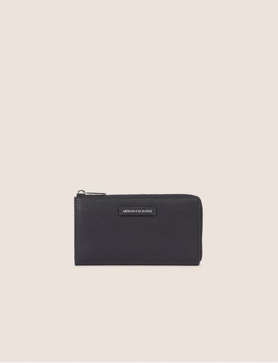 PEBBLED HALF-ZIP LONG WALLET