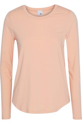 IRIS & INK Paula perforated stretch-jersey top