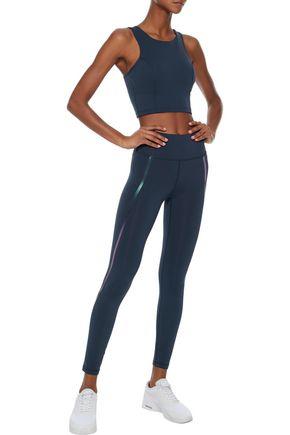 IRIS & INK Lisa metallic-trimmed stretch sports bra