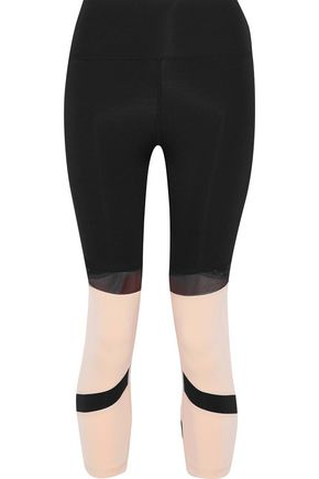 IRIS & INK Jess cropped mesh-paneled two-tone stretch leggings