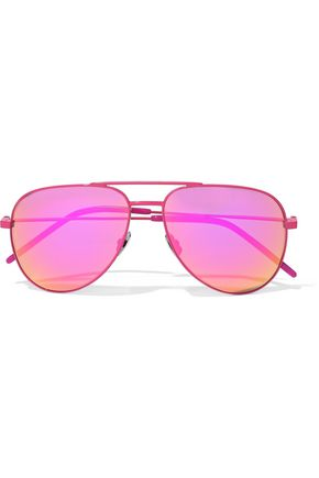 SAINT LAURENT Aviator-style acetate mirrored sunglasses