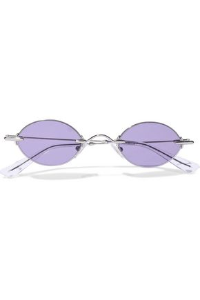CHRISTOPHER KANE Oval-frame silver-tone sunglasses