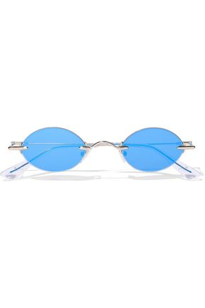 CHRISTOPHER KANE Oval-frame gold-tone and acetate mirrored sunglasses