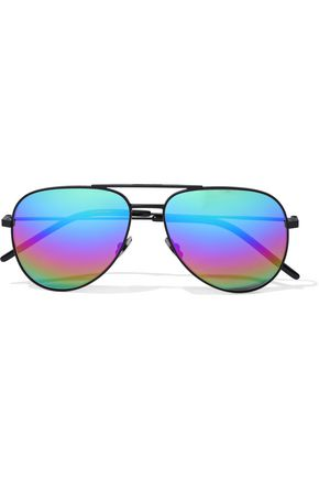 SAINT LAURENT Aviator-style metal mirrored sunglasses