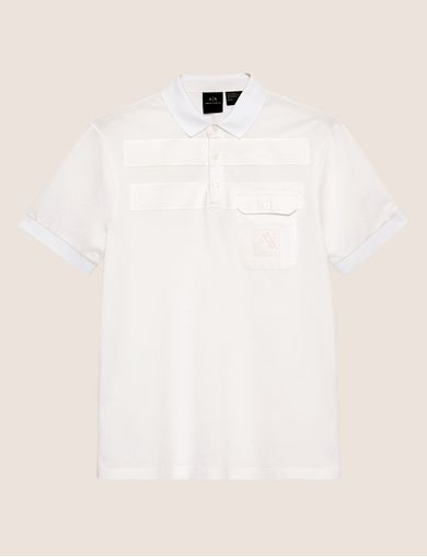 TONAL STRIPE PIECED POCKET POLO
