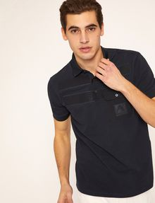 ARMANI EXCHANGE TONAL STRIPE PIECED POCKET POLO SHORT SLEEVES POLO Man a