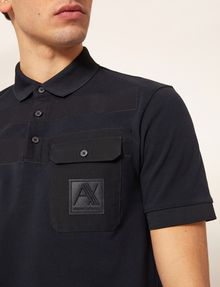 ARMANI EXCHANGE TONAL STRIPE PIECED POCKET POLO SHORT SLEEVES POLO Man b