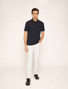 ARMANI EXCHANGE TONAL STRIPE PIECED POCKET POLO SHORT SLEEVES POLO Man d