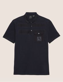 ARMANI EXCHANGE TONAL STRIPE PIECED POCKET POLO SHORT SLEEVES POLO Man r