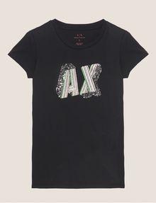 ARMANI EXCHANGE CARTOONARTIGES T-SHIRT MIT RUNDHALSAUSSCHNITT UND PAILLETTEN Logo-T-Shirt Damen r