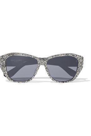 SAINT LAURENT Butterfly-frame glittered acetate sunglasses