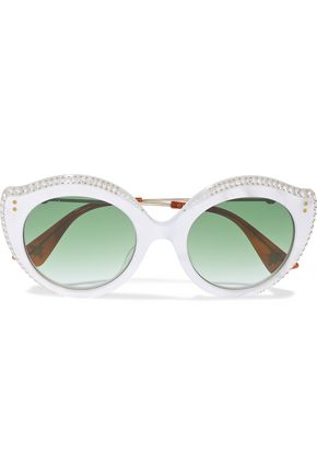 GUCCI Round-frame crystal-embellished acetate and gold-tone sunglasses