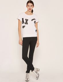 ARMANI EXCHANGE FELPA CON LOGO APPLICATO E MANICHE RAGLAN Top in pile Donna d