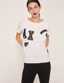 ARMANI EXCHANGE FELPA CON LOGO APPLICATO E MANICHE RAGLAN Top in pile Donna f