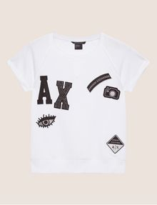 ARMANI EXCHANGE FELPA CON LOGO APPLICATO E MANICHE RAGLAN Top in pile Donna r