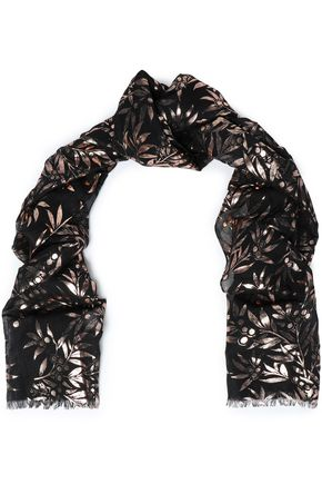 Metallic printed modal and silk-blend scarf