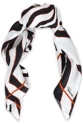 ROBERTO CAVALLI Zebra-print silk-twill scarf