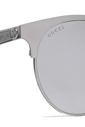 GUCCI Round-frame gunmetal-tone mirrored sunglasses