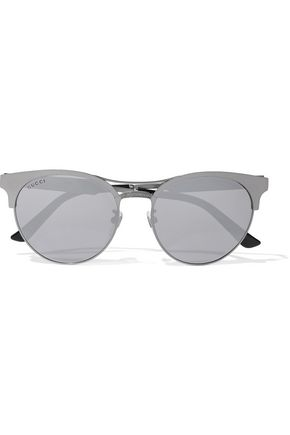 GUCCI Round-frame gunmetal-tone mirrored sunglasses