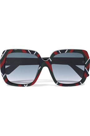 GUCCI Square-frame printed acetate sunglasses
