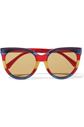 GUCCI Round-frame striped acetate sunglasses