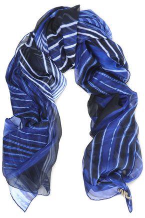 ROBERTO CAVALLI Striped silk-chiffon scarf