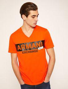 ARMANI EXCHANGE STENCIL V-NECK LOGO TEE Logo T-shirt Man f